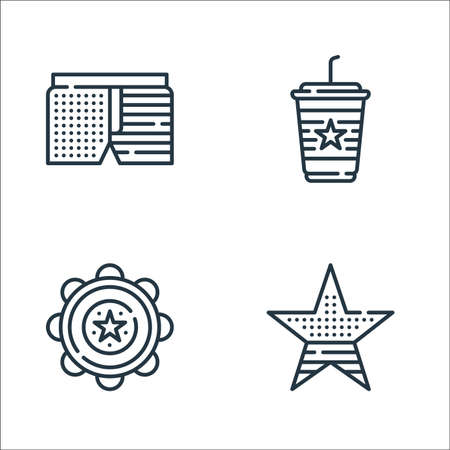 th of july line icons. linear set. quality vector line set such as star, tambourine, coffee Ilustração