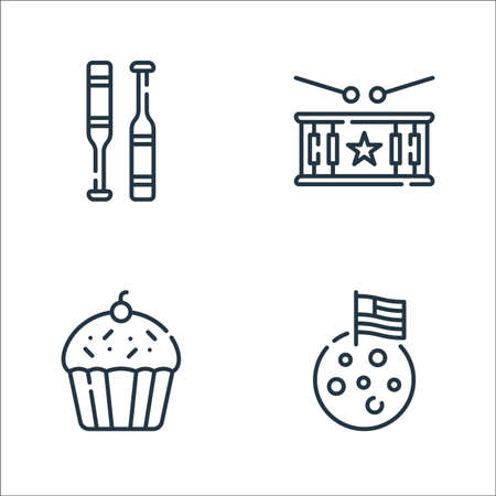 th of july line icons. linear set. quality vector line set such as moon, cupcake, drum