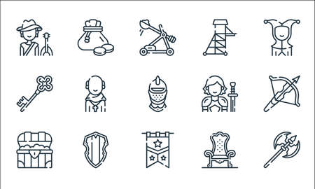 medieval times line icons. linear set. quality vector line set. Vettoriali