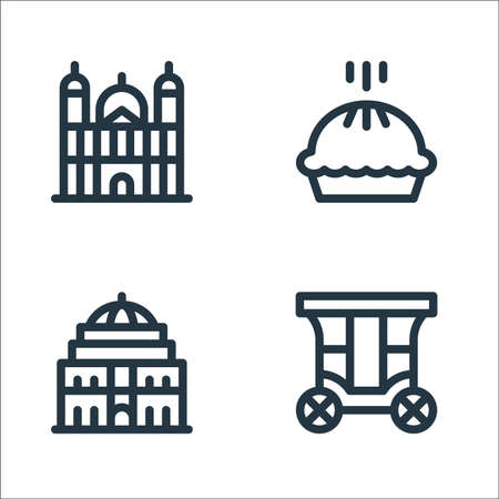 england line icons. linear set. quality vector line set such as carriage, royal albert hall, pie