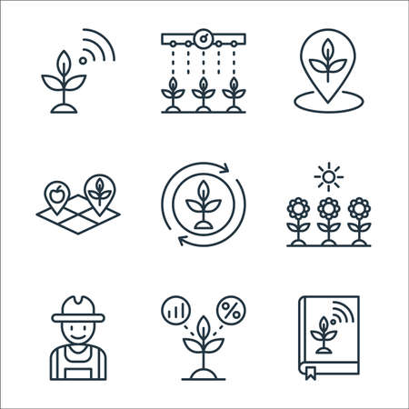 smart farm line icons. linear set. quality vector line set such as book, plant, farmer, sunlight, cycle, land, place, watering plants