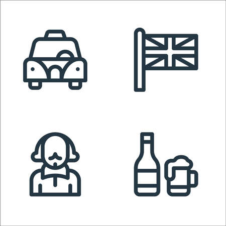 england line icons. linear set. quality vector line set such as beer, shakespeare, union jack Illustration