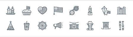 th of july line icons. linear set. quality vector line set such as baseball, cowboy, megaphone, hat, kite, heart, usa, apple pie Ilustração