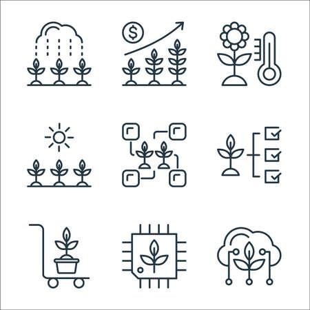smart farm line icons. linear set. quality vector line set such as cloud, cpu, trolley, plant, connection, sunlight, thermometer, plants Illusztráció