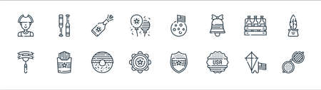 th of july line icons. linear set. quality vector line set such as usa, sticker, tambourine, sausage, beer, champagne, moon, baseball
