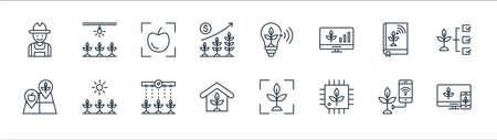smart farm line icons. linear set. quality vector line set such as monitor, cpu, house, land, book, scanner, bulb, lighting Illusztráció