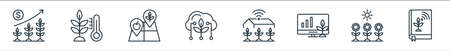 smart farm line icons. linear set. quality vector line set such as book, sunlight, monitor, yard, cloud, land, thermometer