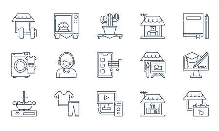 stay at home line icons. linear set. quality vector line set. Vektorové ilustrace