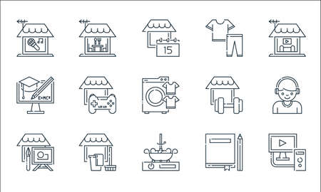 stay at home line icons. linear set. quality vector line set such as computer, cooking, painting, book, cleaning, e learning, gym, clothes, eating