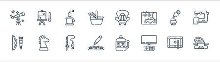 free time line icons. linear set. quality vector line set such as clothes, watching tv, writing, archery, baking, tea, watch, painting