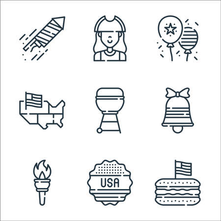 th of july line icons. linear set. quality vector line set such as hotdog, sticker, torch, bell, grill, usa, th of july, patriot