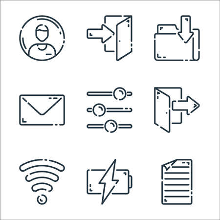 user interface line icons. linear set. quality vector line set.