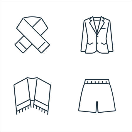 clothes and outfit line icons. linear set. quality vector line set. Illustration