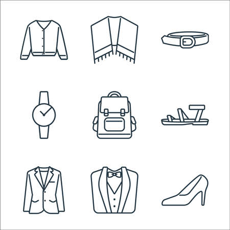 clothes and outfit line icons. linear set. quality vector line set such as high heels, wedding suit, blazer, sandals, backpack, watch, belt, shawl