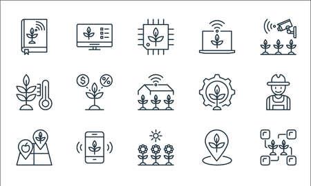 smart farm line icons. linear set. quality vector line set such as connection, sunlight, land, place, smart farm, thermometer, gear, smart farm,