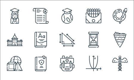 academy line icons. linear set. quality vector line set such as medicine, bagpack, geometry, algebra, book, academy, hourglass, crayon, exam