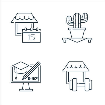 stay at home line icons. linear set. quality vector line set. Vectores