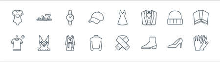 clothes and outfit line icons. linear set. quality vector line set such as gloves, boot, turtleneck, fitting room, wool hat, watch, dress, sandals