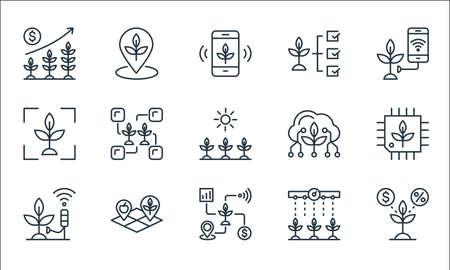 smart farm line icons. linear set. quality vector line set such as plant, smart farm, smart farm, watering plants, land, scanner, cloud, plant, place