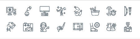 free time line icons. linear set. quality vector line set such as camera, play, golf stick, poker cards, dumbbell, watching tv, bowling, baking