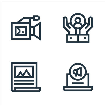 advertisement line icons. linear set. quality vector line set such as digital marketing, poster, customer care