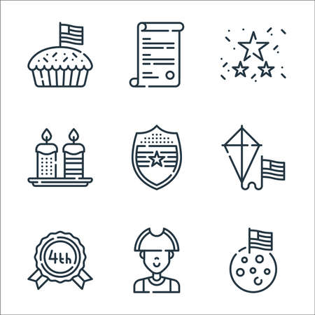 th of july line icons. linear set. quality vector line set such as moon, patriot, usa, kite, shield, candles, garlands, usa