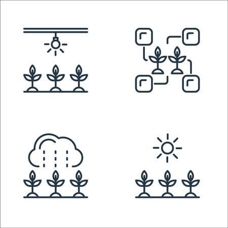 smart farm line icons. linear set. quality vector line set such as sunlight, rain, connection