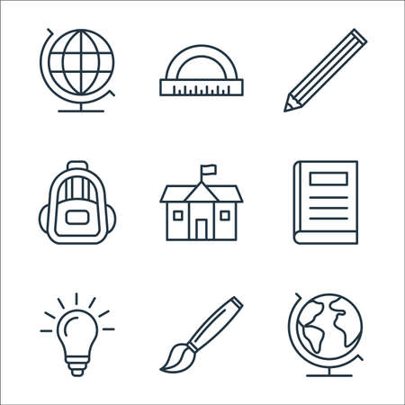 education line icons. linear set. quality vector line set such as earth globe, paint brush, idea, book, school, backpack, pencil, curve ruler