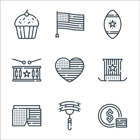 th of july line icons. linear set. quality vector line set such as dollar, sausage, shorts, usa, heart, drum, rugby ball,