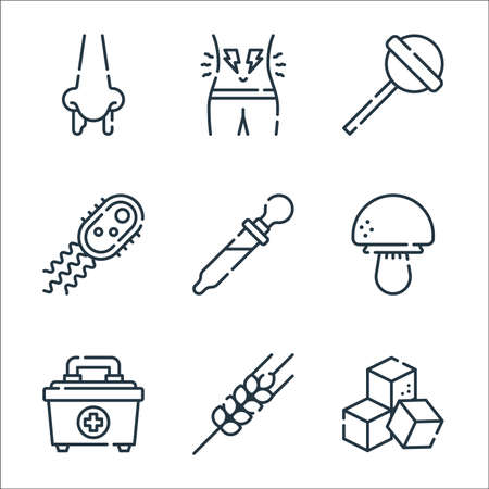 allergies line icons. linear set. quality vector line set.