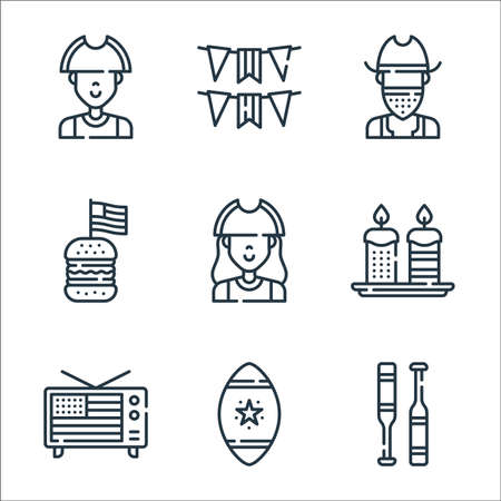 th of july line icons. linear set. quality vector line set such as baseball, rugby ball, television, candles, patriot, burger, cowboy, usa