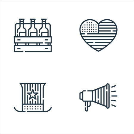 th of july line icons. linear set. quality vector line set such as megaphone, usa, heart