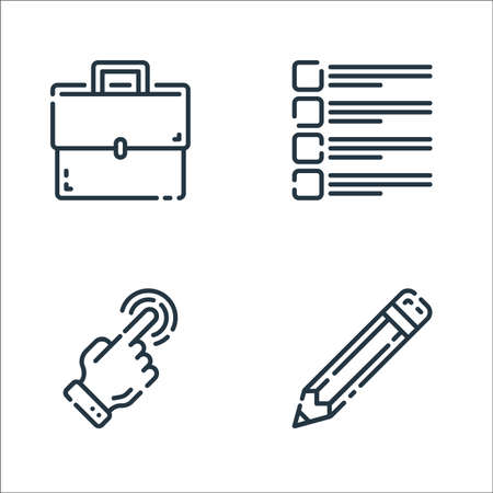user interface line icons. linear set. quality vector line set such as pencil, touch screen, checklist