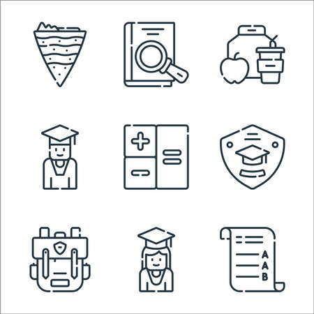 academy line icons. linear set. quality vector line set such as exam, student, bagpack, badge, arithmetic, student, lunch, book