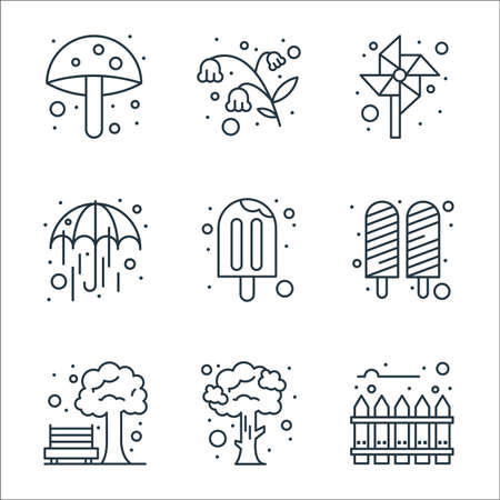 spring line icons. linear set. quality vector line set such as fence, tree, park, ice cream stick, ice cream, good weather, pinwheel, flowers