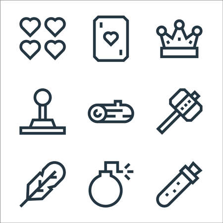 video game elements line icons. linear set. quality vector line set.