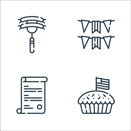 th of july line icons. linear set. quality vector line set such as apple pie, usa, usa