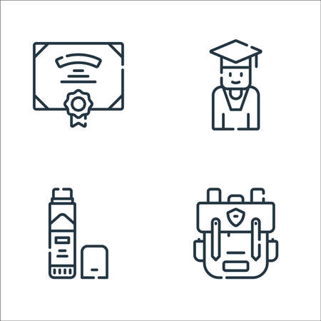 academy line icons. linear set. quality vector line set such as bagpack, glue stick, student Illustration