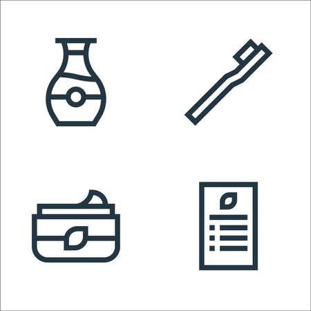 vegan line icons. linear set. quality vector line set such as menu, moisturizer, toothbrush Ilustração