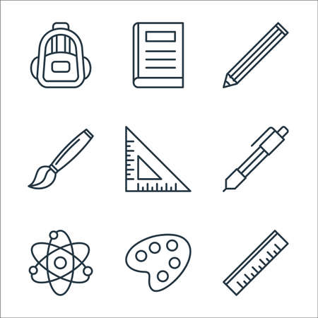 education line icons. linear set. quality vector line set such as ruler, paint palette, science, ballpoint, triangular ruler, paint brush, pencil, book Illustration