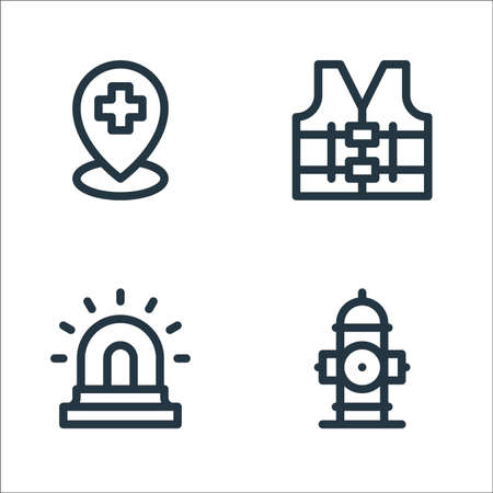 emergencies line icons. linear set. quality vector line set such as fire hydrant, siren, high visibility vest Illustration
