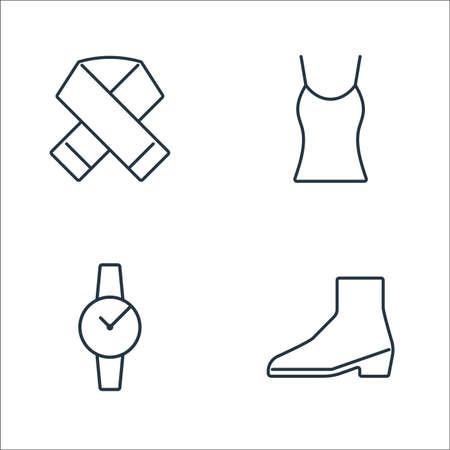 clothes and outfit line icons. linear set. quality vector line set such as boot, watch, vest