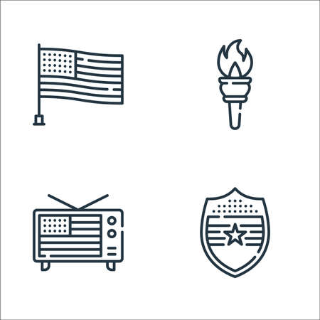 th of july line icons. linear set. quality vector line set such as shield, television, torch