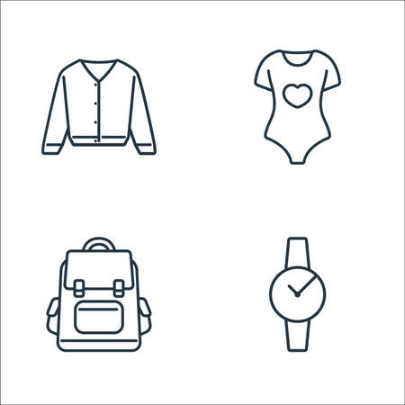clothes and outfit line icons. linear set. quality vector line set such as watch, backpack, pajamas