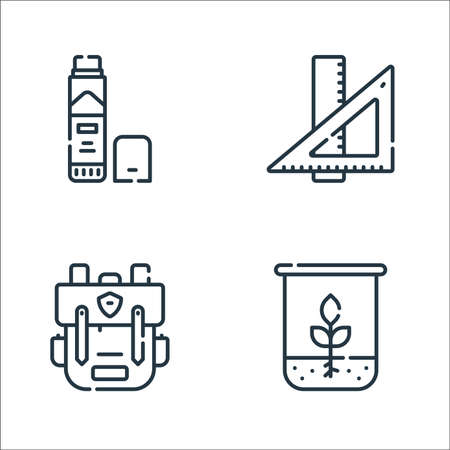 academy line icons. linear set. quality vector line set such as biology, bagpack, ruler Illustration