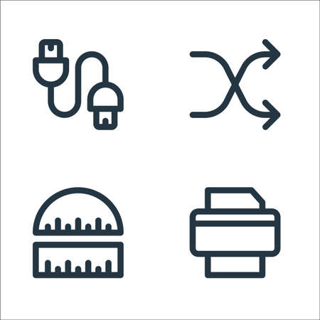 graphic design line icons. linear set. quality vector line set such as printer, ruler, shuffle