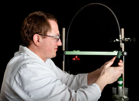 Scientist setting up his test equipment