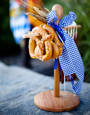 pretzels: Pretzels Hanging on a wooden holder