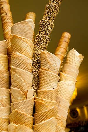 gofres: Italianos conos de helado Florencia Italia