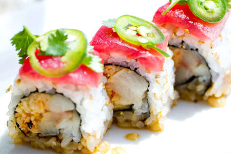 Sushi with tuna ,cilantro and Jalapeno peppers Stock Photo - 14042074